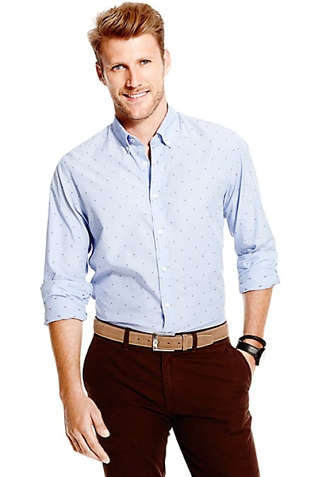 Tommy Hilfiger Men's Shirt. Microflags Distinguish Our Premium Cotton Shirt Tailored In Our Slim, Modern Fit. New York Fit (Our Slimmest Fit). 100% Cotton. Button-Down Collar. Machine Washable. Imported.