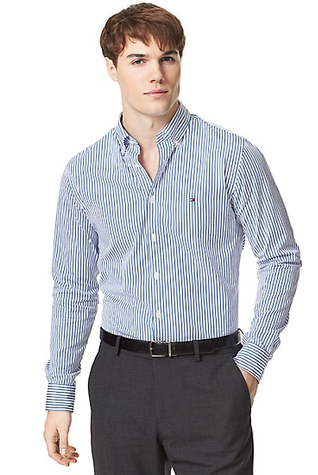 Tommy Hilfiger Men's Shirt. Styled From Premium Cotton In A Versatile Stripe, We Present Our Best-Selling Shirt Silhouette. New York Fit (Our Slimmest Fit). 100% Cotton. Button-Down Collar, Microflag At Chest. Machine Washable. Imported.