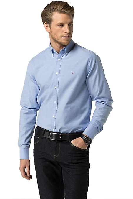 Tommy Hilfiger Men's Shirt. The Classic Oxford Button Down, Now Available In Stretch Cotton For A Comfortable Fit And Cut Slim For A Modern Look. Slim Fit (Tailored With Clean Lines Throughout). 98% Cotton, 2% Elastane. Button-Down Collar. Machine Washable. Imported.