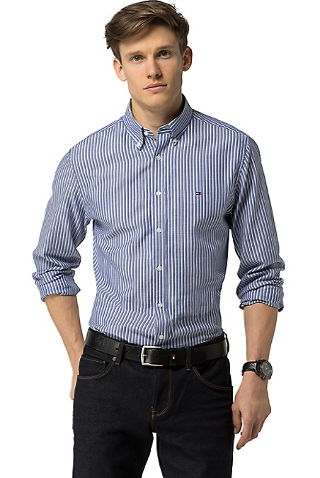 Tommy Hilfiger Men's Shirt. When You Want To Mix Up Reach For Our Button Down In An Updated Stripe. Our Answer To Business In The Front Party In The Back In Shirt Form. New York Fit (Our Slim Silhouette, Cut Sleek Through The Chest And Shoulders). 100% Cotton. Button Down Collar. Machine Washable. Imported.