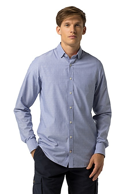 Tommy Hilfiger Men's Shirt. Our Design Team Deems It A Must-Our Microdot Shirt Woven From Premium Cotton And Cut To Perfection In Our Most Trimly Tailored Fit. Slim Fit (Our Slimmest Fit Tailored With Clean Lines Throughout). 100% Cotton. Mandarin Collar. Machine Washable. Imported.