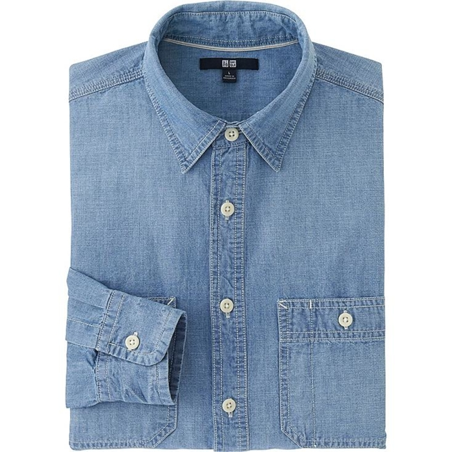 UNIQLO Chambray Shirt, Blue, XS