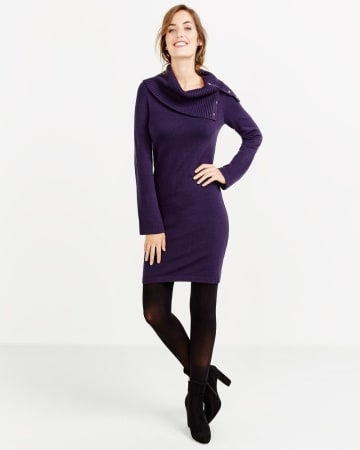This cowl neck bell sleeve dress will make you feel pretty. Featuring a rib cowl neck with two metal buttons, the winter dress is perfect to get you from the office to the weekend! Pair it with matching ankle boots for a flawless look.<br /><br />Ready to wear for: a special occasion, a family dinner, a movie nigh.New Evening Blue.XXS