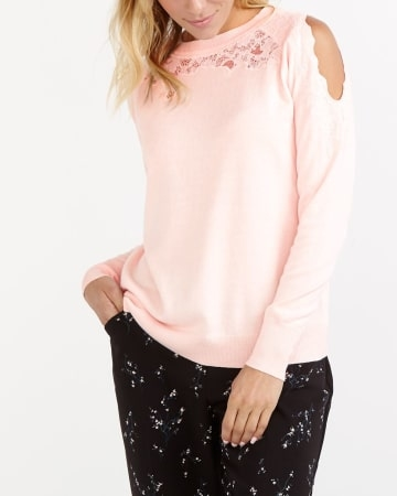 Combining comfort and style, this lace insert cold shoulder sweater will quickly become your next go-to! Featuring a rounded neck with a lace insert, this sweater is perfect to get you from the week to the weekend. Pair it with cropped pants and high heels for a great casual look.<br /><br />Ready to wear for: the office, a movie night, a family activit.Pearl.3X