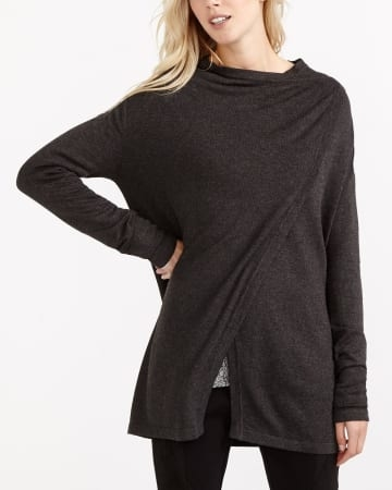 You will fall for this asymmetric open cardi. Featuring long sleeves and large sides to wrap you up, it's perfect to get you from the week to the weekend! Pair it with a shirt dress and ankle boots for a flawless fall look. <br /><br />Ready to wear for: the office, a movie night, chilly morning.Heather Charcoal.3X