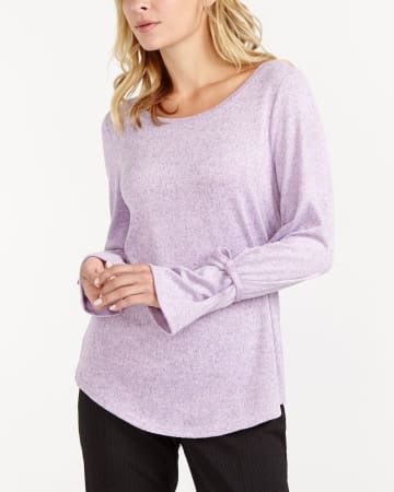 An effortless laid-back look? Yes, it's possible with this  tie sleeve top. Featuring a V-neck and a rounded hem, this top is both feminine and convenient. Pair it with crop pants and flats for a trendy look.<br /><br />Ready to wear for: the office, a meeting, a dinner with friend.Purple Shadow.XXS