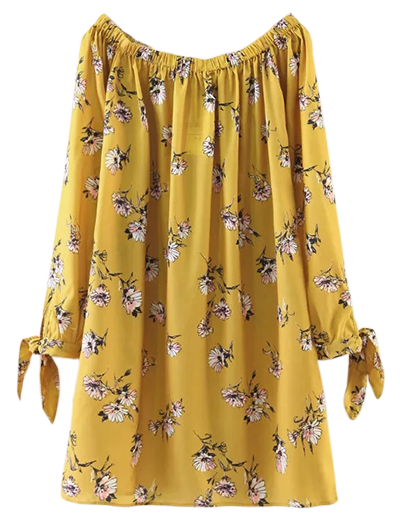 Style: Casual Occasions: Causal Material: Cotton Blend Silhouette: Straight Dress Type: Tunic Dress Dresses Length: Mini Collar-line: Off The Shoulder Sleeves Length: Long Sleeves Pattern Type: Floral With Belt: No Season: Fall, Spring, Summer Weight: 0.3700kg Package: 1 x Dress