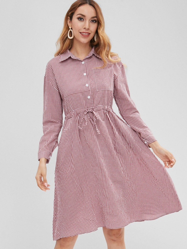 Style: Brief Occasions: Casual, Day, Going Out Material: Polyester Silhouette: A-Line Dress Type: Shirt Dress Dresses Length: Knee-Length Collar-line: Shirt Collar Sleeves Length: Long Sleeves Pattern Type: Gingham With Belt: No Season: Fall, Spring Weight: 0.2800kg Package: 1 x Dress