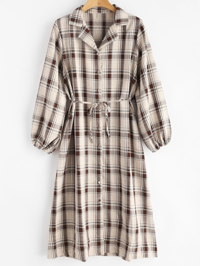 Style: Casual Occasions: Casual Material: Cotton, Polyester Silhouette: Straight Dress Type: Shirt Dress Dresses Length: Mid-Calf Collar-line: Shirt Collar Sleeves Length: Long Sleeves Pattern Type: Plaid With Belt: No Season: Fall Weight: 0.5500kg Package: 1 x Dress