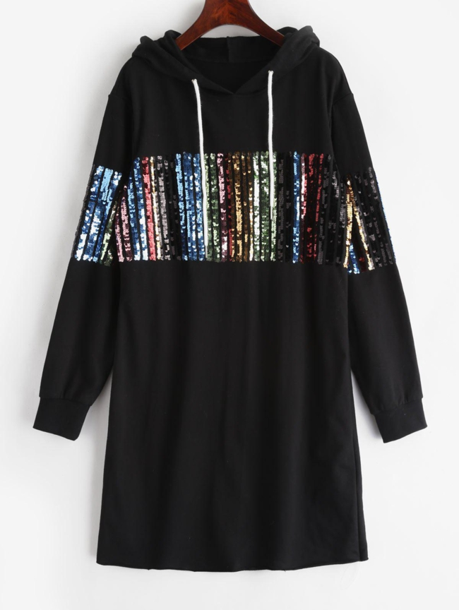 Style: Casual Occasions: Day, Going Out Material: Polyester, Polyurethane Silhouette: Straight Dress Type: Hoodie Dress Dresses Length: Mini Collar-line: Hooded Sleeves Length: Long Sleeves Decoration: Sequined Pattern Type: Others With Belt: No Season: Fall, Winter Weight: 0.5300kg Package: 1 x Dress