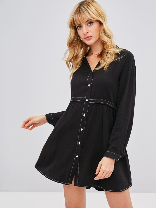 Style: Casual Occasions: Casual Material: Cotton Silhouette: Straight Dress Type: Tunic Dress Dresses Length: Mini Collar-line: V-Collar Sleeves Length: Long Sleeves Pattern Type: Solid With Belt: No Season: Fall, Spring Weight: 0.3700kg Package: 1 x Dress