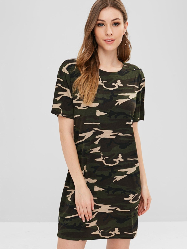 Style: Brief Occasions: Casual, Day, Going Out Material: Polyester, Spandex Silhouette: Straight Dress Type: Tee Dress Dresses Length: Mini Collar-line: Round Collar Sleeves Length: Short Sleeves Pattern Type: Camo With Belt: No Season: Spring, Summer Weight: 0.1800kg Package: 1 x Dress