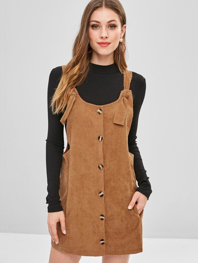 Style: Cute Occasions: Casual Material: Polyester Silhouette: Straight Dress Type: Pinafore Dress Dresses Length: Mini Collar-line: Scoop Collar Sleeves Length: Sleeveless Decoration: Pockets Pattern Type: Solid With Belt: No Season: Fall, Spring, Winter Weight: 0.3000kg Package: 1 x Dress