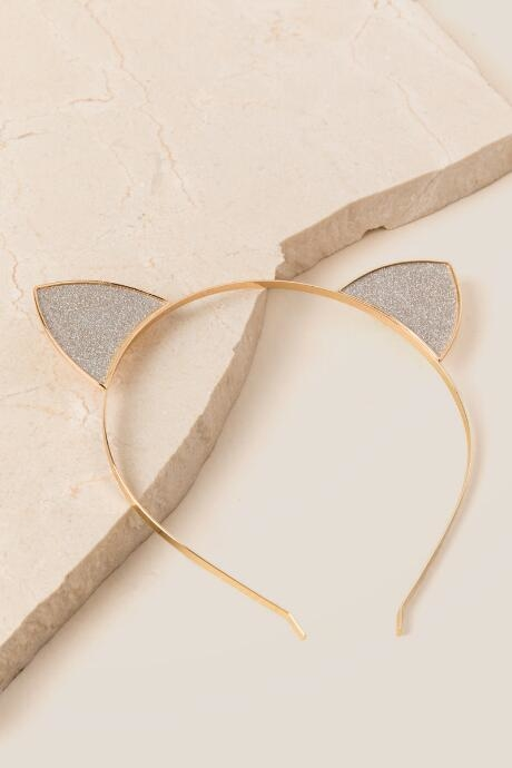 Reanna Cat Ear Headband In Gold features silver glitter car ears attached to a thin gold headband.