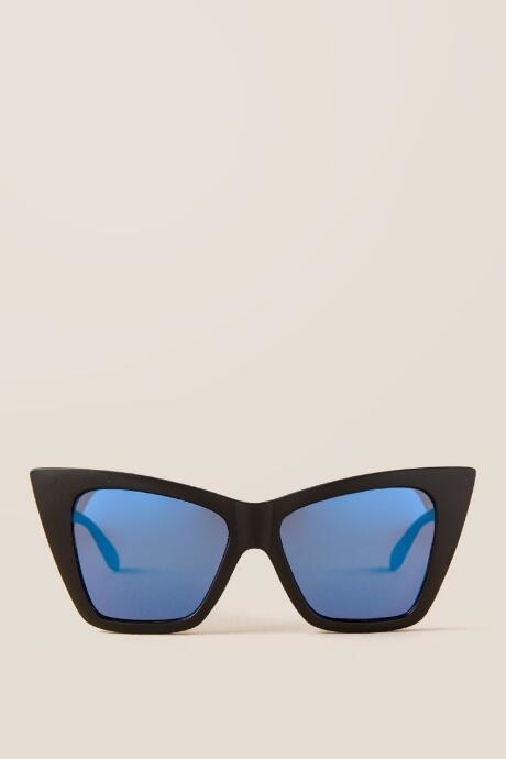 The Rochelle Square Sunglasses in Black features black chunky square frames with blue colored lenses.