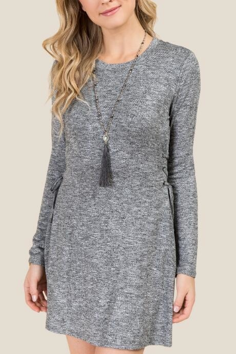 The Beckett Tie Side Hacci Dress features a cozy knit.