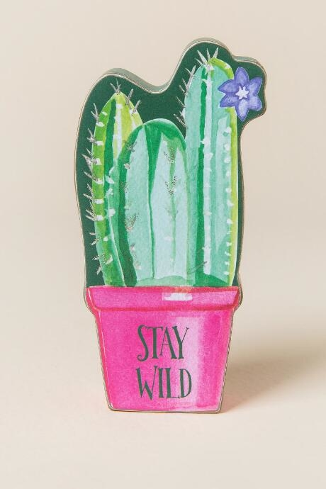 Add some color and fun to your desk with the stay wild desk sitter.