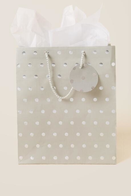 The Silver Dots Large Gift Bag is a great large gift bag for your holiday presents.