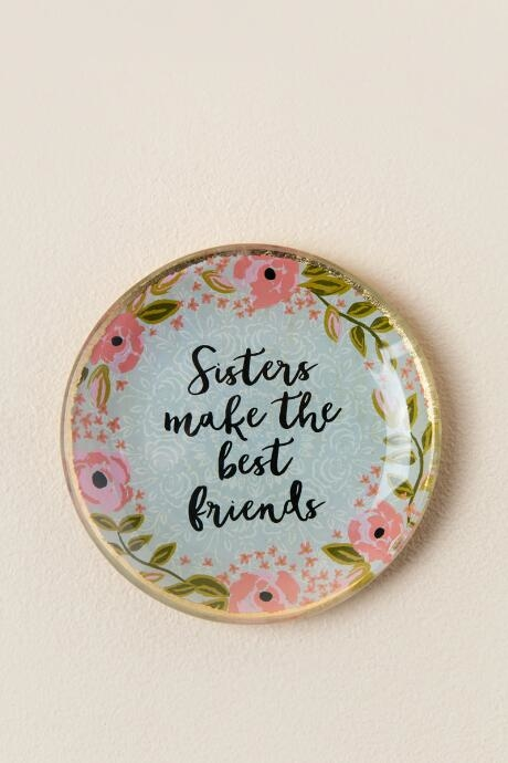Tell you sister you love her everyday with this beautiful glass, floral trinket dish!