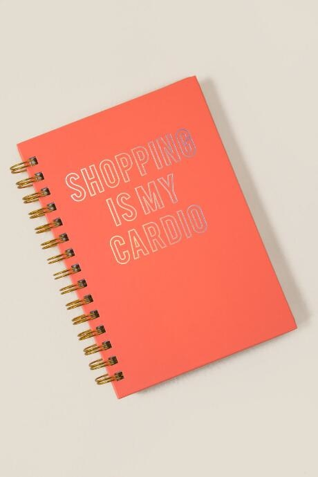 The Shopping is my Cardio Journal is a blank notebook.