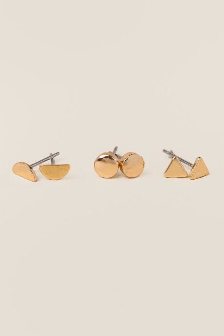 The Chrissie Triangle Circle Stud Earring Set features solid gold and geometric shapes.