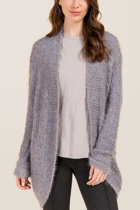 The Marabel Eyelash Cocoon Sweater Wrap features a soft cozy fabric.