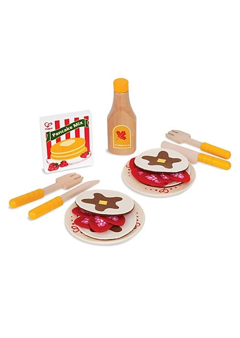 What could be better than a stack of pancakes for breakfast? Sliced strawberries and maple syrup add the finishing touches in this wooden food toy set.7.75W x 10.25H x 4D.Wood. Imported.