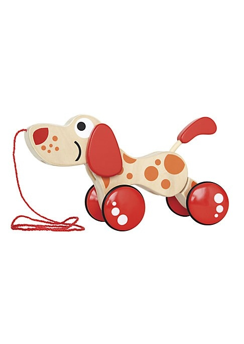 This adorable pull-string puppy promotes imaginative play and will become a cherished toy for your curious little one.3.6W x 8.7L x 6.4H.Maple wood/plywood/rubber/TPE. Recommended for ages 1 and up. Imported.
