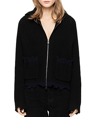 With a trending fringed hem and cuffs, this rich wool blend from Zadig & Voltaire makes a cozy-cool sweater statement and flaunts a full-length zipper that takes it in a sporty direction.