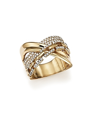 Diamond Crossover Ring in 14K Yellow Gold, .75 ct. t.w. - 100% Exclusive-Jewelry & Accessories