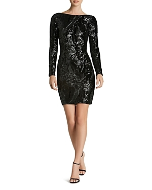Bedecked with luxe sequin embellishments, Dress the Population goes for high-shine glamour with this body-con silhouette.