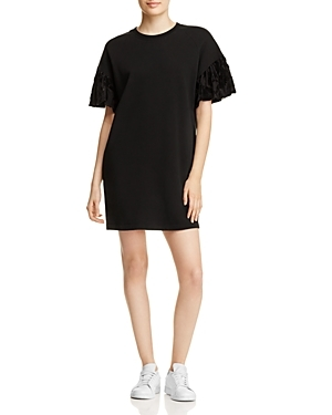 Take a signature McQ Alexander McQueen approach to sporty cool with this easy sweatshirt dress, an understated streetwear style turned darkly glam with frilled devore cuffs.