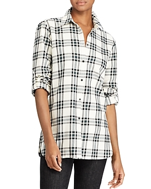 A graphic palette refreshes Lauren Ralph Lauren's menswear-inspired plaid shirt for a new season. Convert the versatile sleeves to three-quarter length when the weather begins to warm up.