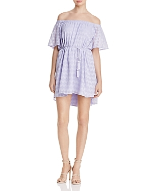Subtly textured diamonds weave a tactile tale on this exclusive-to-Bloomingdale's dress from Finders, designed with the season's must-have, off-the-shoulder neckline.