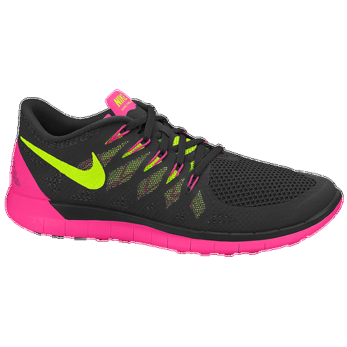 Coming back for another round, the Nike Free 5.0 2014 is here, attacking this version of the popular Nike Free with inspiration from your bare feet. Mesh upper made with dynamic Flywire technology, which offers ultra-lightweight support, breathability, and a secure lockdown. Natural range of motion. Seamless inner bootie adds to an already pleasurable experience with it's plush and comfortable fit. Flex grooves in the phylon midsole allow your foot to move naturally in multiple directions. New flex pattern on the outsole offers six directions of motion for the most flexible outsole to date. Additional durability comes from strategically placed rubber lugs that give you traction and grip all run long. Wt. 7.2 oz.