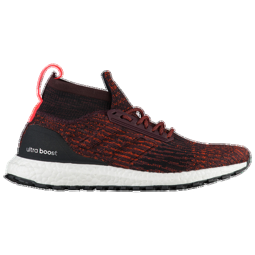 Kick it in gear on any surface with the adidas Ultra Boost All Terrain running shoe. It's designed to deliver an energized ride while keeping wet conditions at bay. The water-repellent upper consists of Primeknit, which wraps the foot in adaptive support and light comfort. Ultra-thin film helps repel water. High collar and winterized features with a raw and rough feel. Integrated midfoot cage for support FITCOUNTER molded heel counter for a natural fit, allowing Achilles movement Boost to absorb energy from your footstrike and release it at push-off to propel you STRETCHWEB rubber to flex underfoot for an energized ride Continental Rubber for traction even in wet conditions