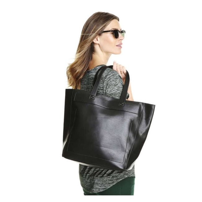 Women / Accessories / Bags / Tote all your essentials in our latest faux leather bag with an open top. Faux leather handbag / Open top-no closure / 13.5 H x 18 W x 5 D / Faux Leather, 100% polyurethane