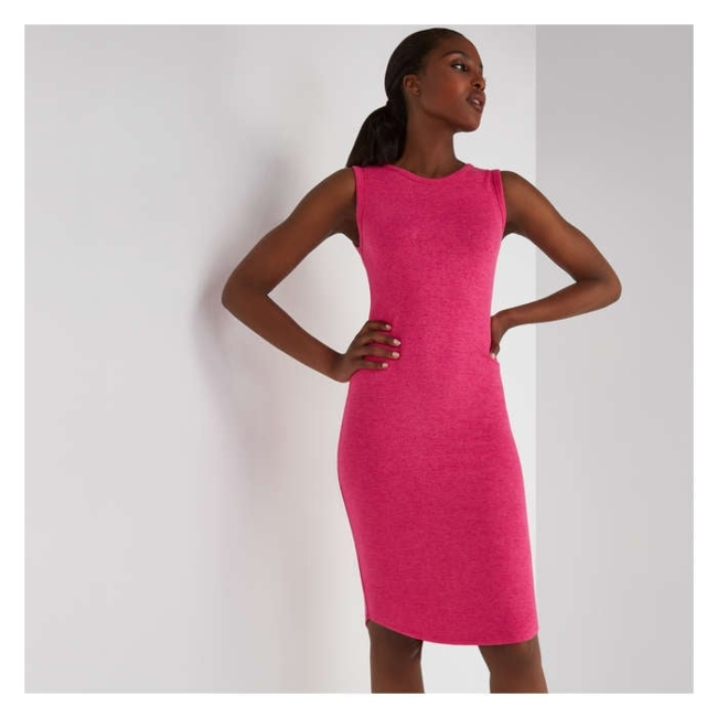 Women / Activewear / Dresses / Athletic wear gets a stylish upgrade with our comfy hacci crew neck dress. Model wears size S/4/27 / Sleeveless crew neck dress / Dress length: 43 / Jersey, 75% viscose/ 21% polyester/ 4% spandex / Machine wash / Shop this style in extended sizes