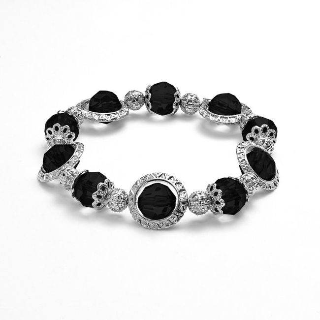 Take your everyday looks to the next level with this stretch bracelet. : Bracelet diameter: 2-in. Beads: faceted Not appropriate for children 12 years old and younger. Size: 7. Color: Black. Gender: Female. Age Group: Adult.