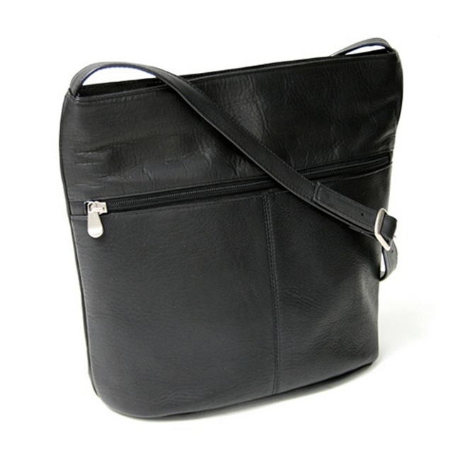 This shoulder bag from Royce Leather keeps you stylish and prepared. In black. : Adjustable strap ensures comfortable use. Interior zip and slip pockets cover organization needs. Exterior zip pocket keeps essentials close at hand. Handcrafted, full-grained leather ensures quality. : 13H x 11W x5D Leather Wipe clean Manufacturer's 1-year limited warrantyFor warranty information please click here Model no. Vlshbz-BLK Size: One Size. Gender: Female. Age Group: Adult. Pattern: Solid.