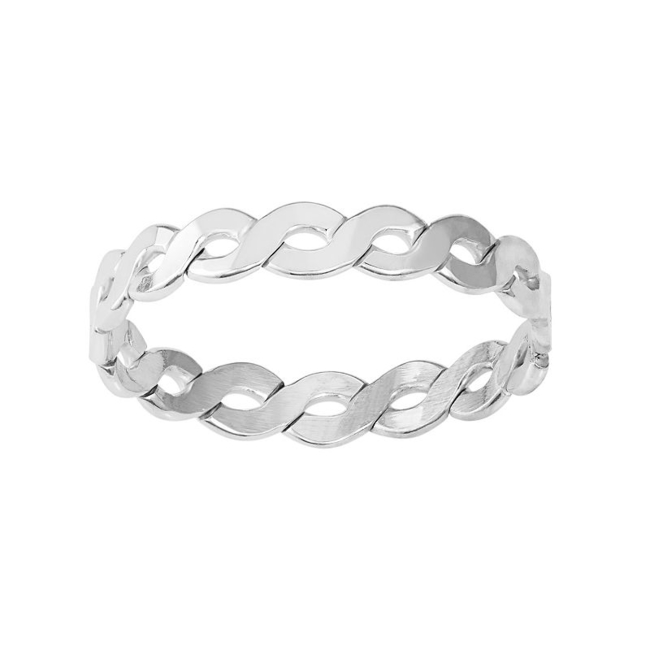 Add simple style to your look with this sterling silver twist ring. Ring Details Width: 2.5 mm Metal: sterling silver Finish: polished Size: 8. Color: Grey. Gender: Female. Age Group: Adult.