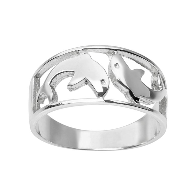 You'll be swimming in style when you wear this adorable sterling silver dolphin ring. Ring Details Width: .75 in. Metal: sterling silver Size: 6. Color: Grey. Gender: Female. Age Group: Adult.