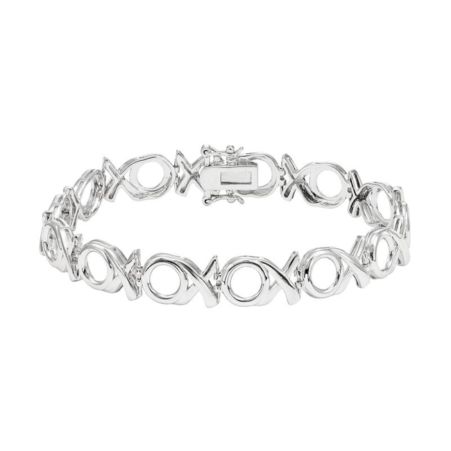 Show your unconditional love with this XO link bracelet. Bracelet Details Length: 7.5 in. Clasp: box Metal: rhodium-plated sterling silver Size: 7.5. Color: White. Gender: Female. Age Group: Adult.