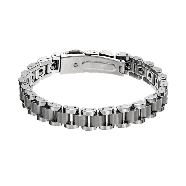 Complete your casual look with this handsome men's tungsten carbide bracelet. Bracelet Details Length: 8.5 in. Closure: fold-over Metal: tungsten carbide Size: 8.5. Color: Multicolor. Gender: Male. Age Group: Adult.
