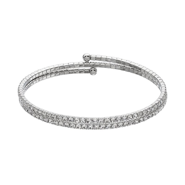 Add some sparkle to your look with this Duchess of Dazzle crystal coil bracelet. Bracelet Details Diameter: one size fits most Metal: rhodium-plated brass Color: White. Gender: Female. Age Group: Adult.