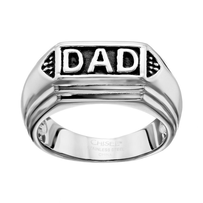 Show Dad how much you care with this stainless steel men's ring. Ring Details Width: 10 mm Metal: stainless steel Size: 9. Color: Grey. Gender: Male. Age Group: Adult.