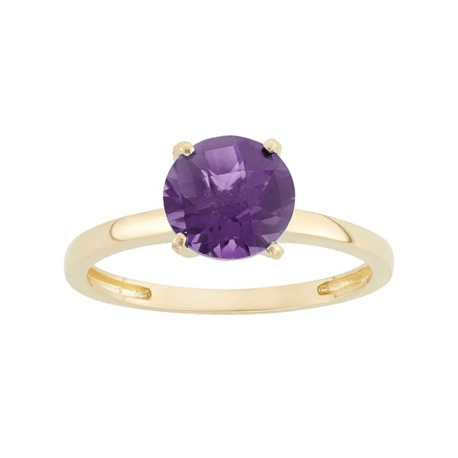 Feminine charm abounds with this alluring amethyst solitaire ring. Ring Details Width: 8 mm Metal: 10k gold Size: 6. Color: Purple. Gender: Female. Age Group: Adult.