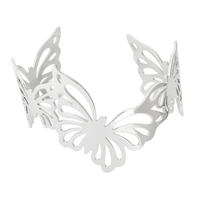Whimsical beauty abounds on this sterling silver butterfly cuff bracelet. Bracelet Details Length: 7.25 in. Metal: rhodium-plated sterling silver Size: 7.25. Gender: Female. Age Group: Adult.