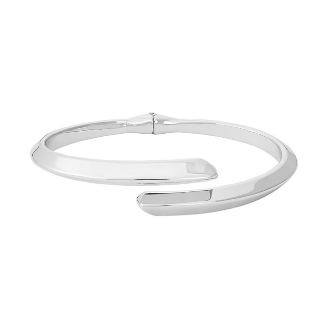 Modern beauty abounds on this sterling silver bypass cuff bracelet. Bracelet Details Length: 7.25 in. Metal: rhodium-plated sterling silver Size: 7.25. Gender: Female. Age Group: Adult.