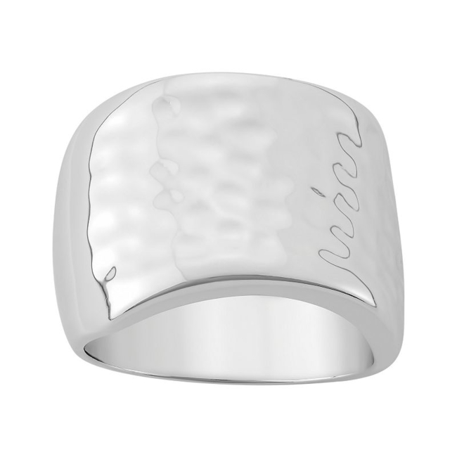 Add bold beauty to any ensemble with this sterling silver hammered ring. Ring Details Width: .63 in. Metal: rhodium-plated sterling silver Size: 7. Gender: Female. Age Group: Adult.